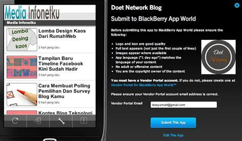 cara membuat aplikasi online shop di blackberry cara membuat aplikasi blog di blackberry media infonetku