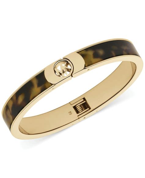 michael kors gold tone tortoise logo bangle bracelet in
