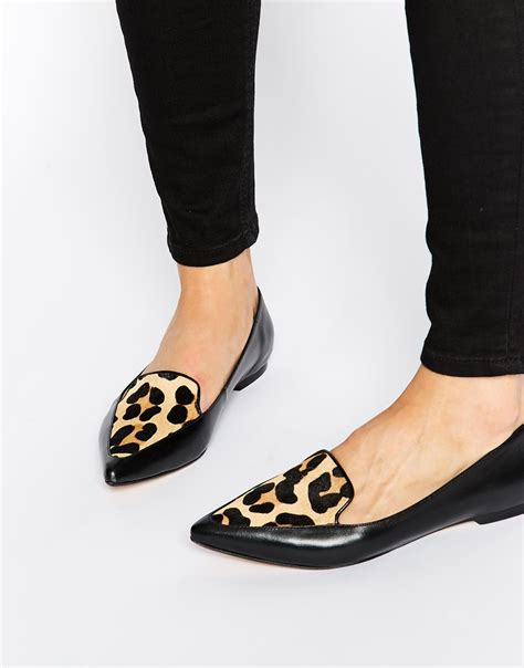 flat pointed shoes lyst dune austine leopard pony effect leather pointed