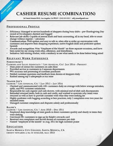 cashier resume sample responsibilities retail cashier resume example