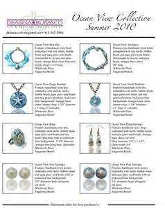 Jewelry Line Sheet Template deanna burasco designs line sheets