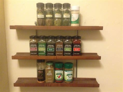 Hanging Spice Rack Modern Wood And Metal Hanging Spice Rack By Grandadsfurniture