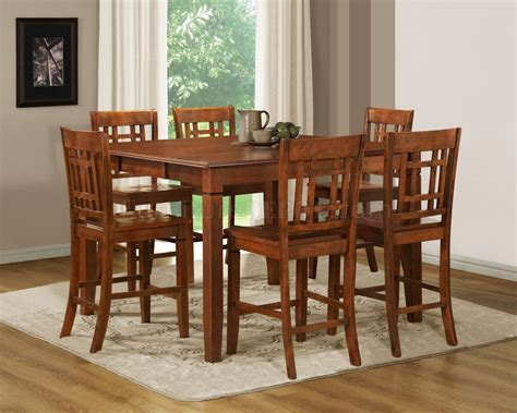 medium brown cherry modern counter height dining table
