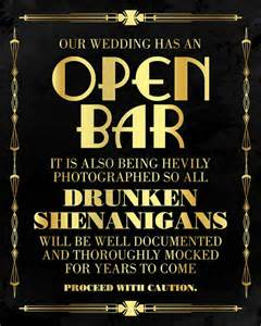 Open bar wedding sign great gatsby themed party supplies roaring 20s