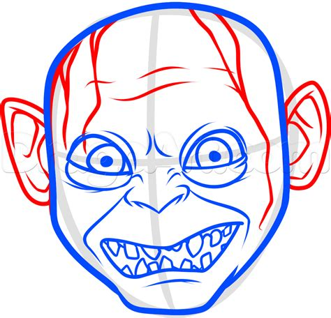 draw oline how to draw gollum easy step by step characters pop