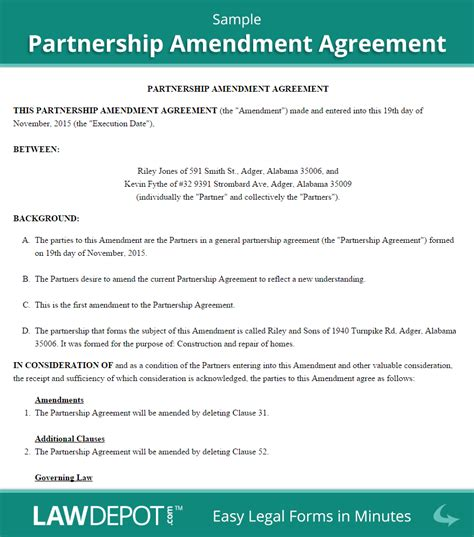Withdrawal Letter From Llc Partnership Amendment Form Free Partnership Amendment Us Lawdepot
