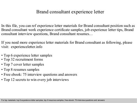 Brand Consultant Cover Letter by Brand Consultant Experience Letter