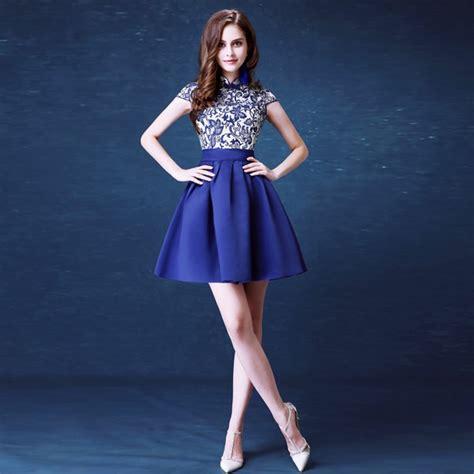 Helga Cheongsam Top Navy Blue cheongsam top navy taffeta skirt prom