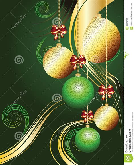 gold and green xmas balls stock illustration image 59515186