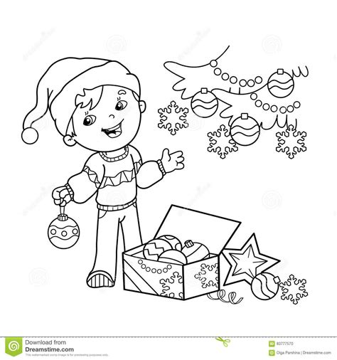 new year tree coloring page coloring page outline of cartoon boy decorating the