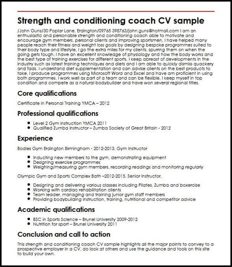 cover letter for strength and conditioning coach search results for exle of cv calendar 2015