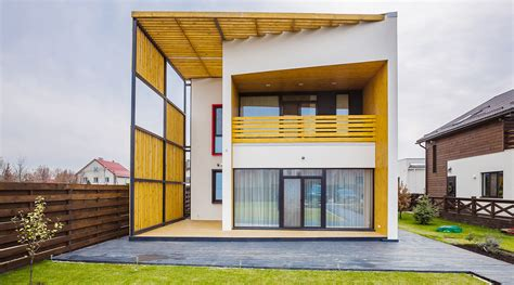 de stijl inspired home in kiev features pergola