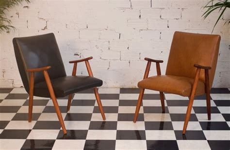 authentic vintage armchair 50s 1950 black leather