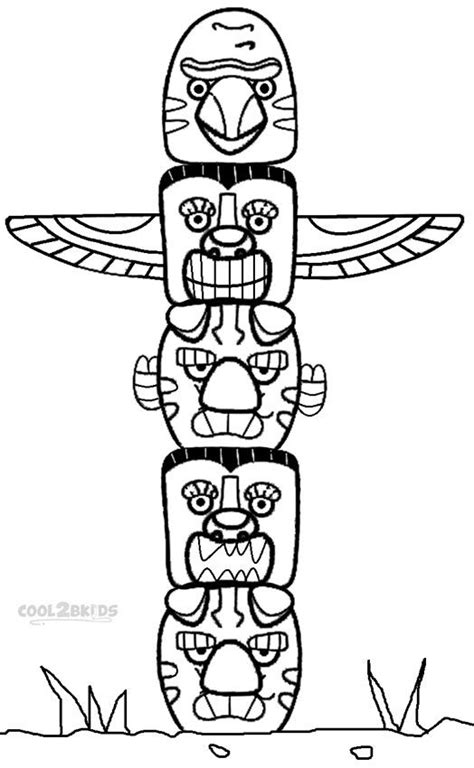 Totem Pole Template by Printable Totem Pole Coloring Pages For Cool2bkids