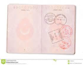 open turkish passport pages clipping path stock photos