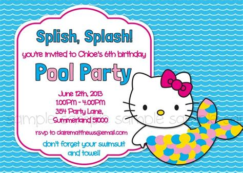 Pool Hello hello printable pool birthday invitation