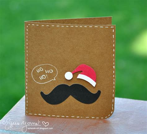 Greeting Handmade - santa moustache card handmade greeting card