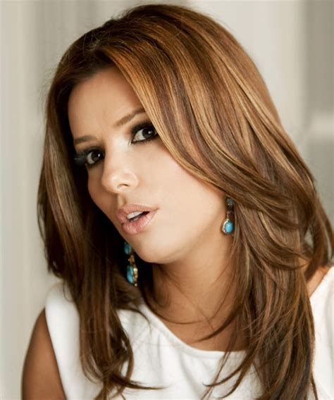 hair cut with a defined point in the back eva longoria parker long straight formal hairstyle