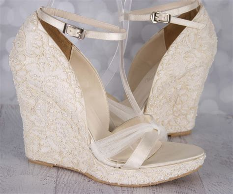 Lace Wedge Bridal Shoes by Custom Wedding Shoes Wedding Wedges Wedge Wedding Shoes