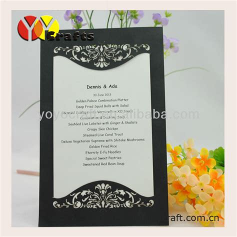 invitation design models hot sell laser cut paper in various color and size