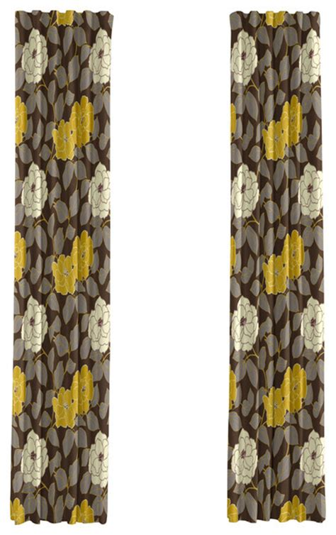 yellow brown curtains brown and yellow floral drapery single panel 84
