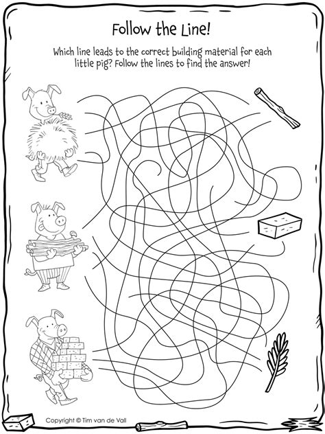 pigs follow  lines tims printables