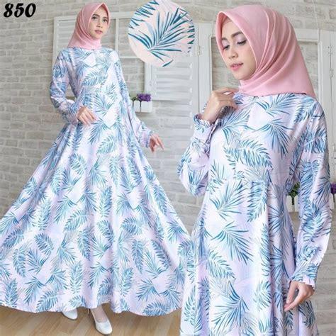 Baju Wanita Gamis Maxmara Syarii Muslim Cantik Modern Modis Lucu gamis modern maxmara motif daun c850 baju muslim cantik