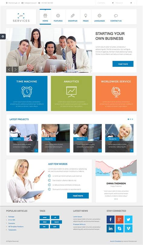 business template joomla jm services free joomla design support template