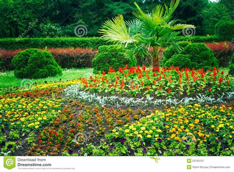 Landscape Pictures Of Flowers Garden Landscaping Design Flower Bed Green Trees Stock