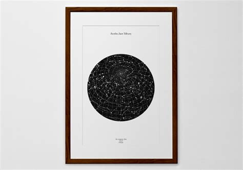 printable star map by date personalized star map print or poster of the night sky