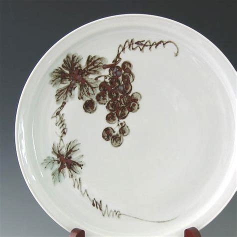 Decorative Grape Plates by White Ceramic Decorative Plate With Iron Painted Grapes