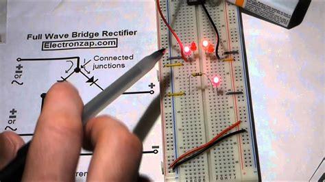 electronics circuit full wave bridge rectifier leds