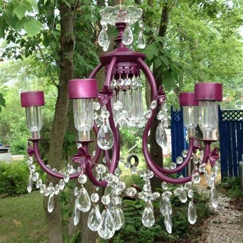 Upcycled Chandelier With Solar Lights For Garden Garden Chandeliers