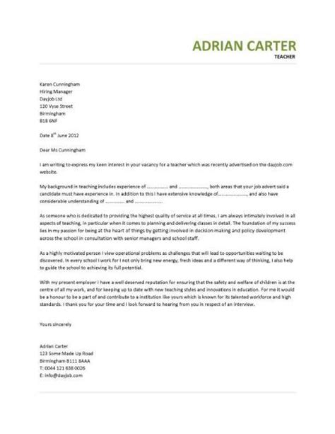 cover letter for teaching covering letter for teaching vacancy exle covering