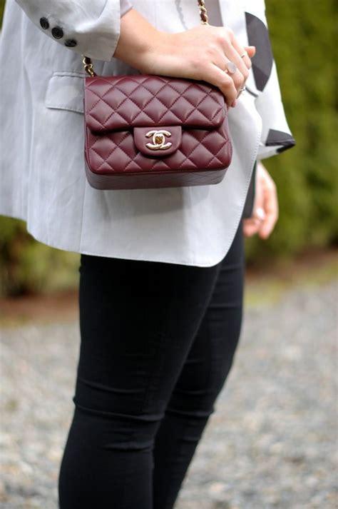 Channel Cevron Minj chanel mini flap bag in burgundy lambskin