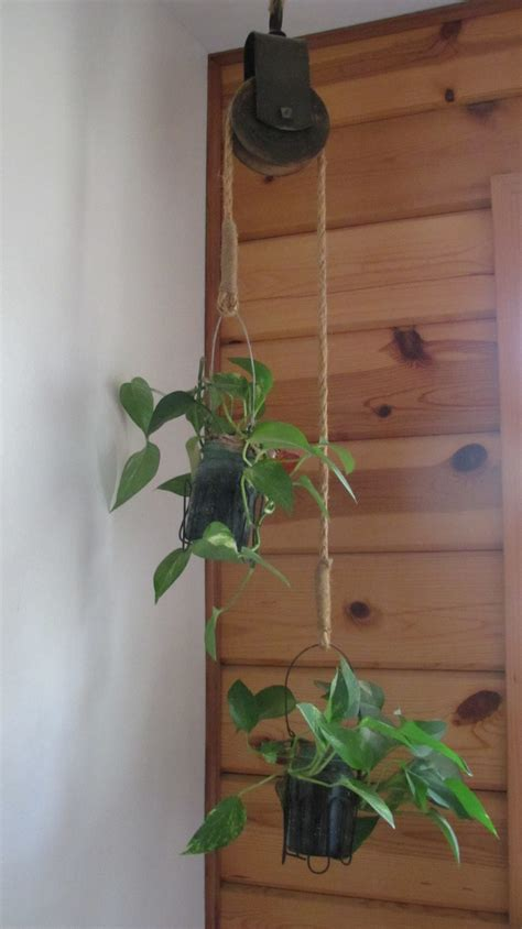 old barn pulley used as a plant holder hanging from