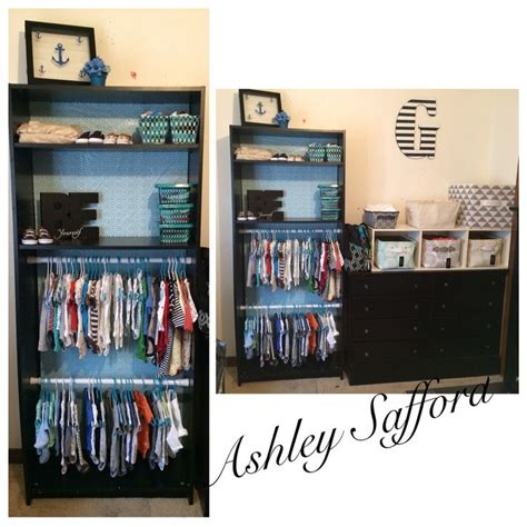baby boy nursery bookshelf turned into a closet my
