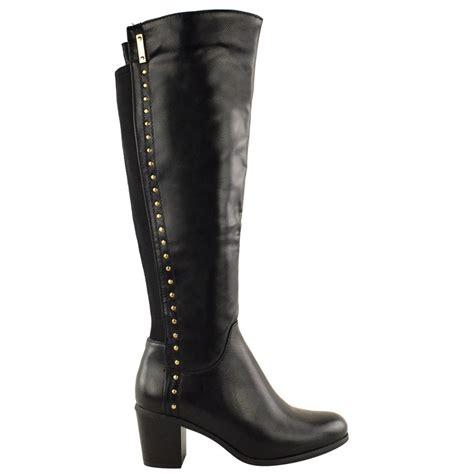 knee high heel boots wide calf womens wide leg knee high mid calf block heel