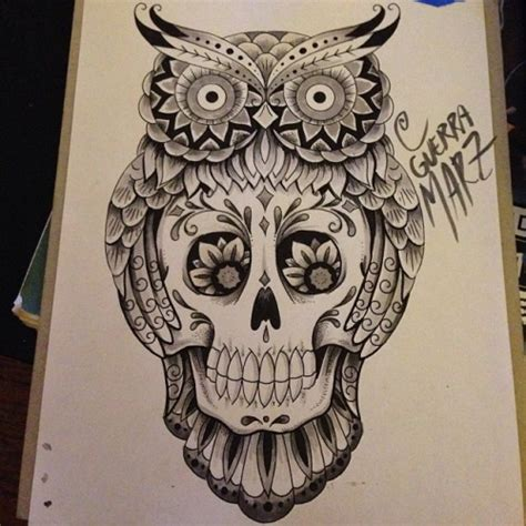 ornamented owl and sugar skull tattoo design