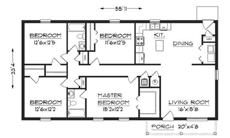 simple house floor plan with dimensions