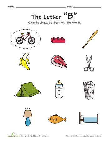 Pictures Of Objects Starting With Letter B