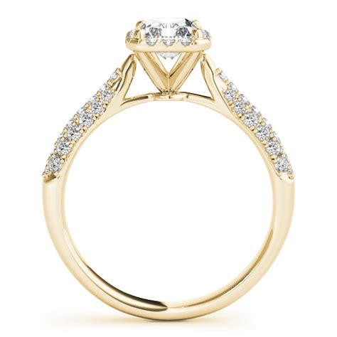 emerald cut halo pave engagement ring 18k yellow