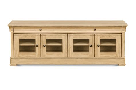 Oak Tv Cabinets With Glass Doors Clemence Richards Moreno Oak Tv Hifi With Glass Doors Tv Cabinets