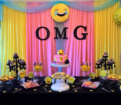 party themes awesome emoji birthday party ideas emoji dessert table and