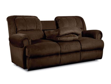 recliner with tray table evans double reclining sofa w fold down tray table by