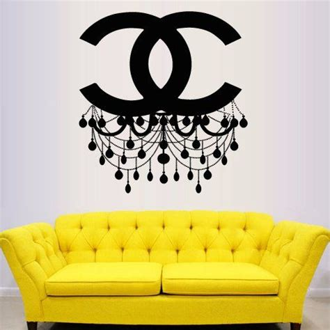 coco chanel wall stickers wall decal vinyl sticker decals decor design chandelier luster coco chanel light living room