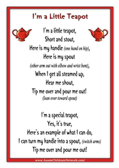 printable nursery rhyme stationary im a little teapot rhymes worksheet songs and poems