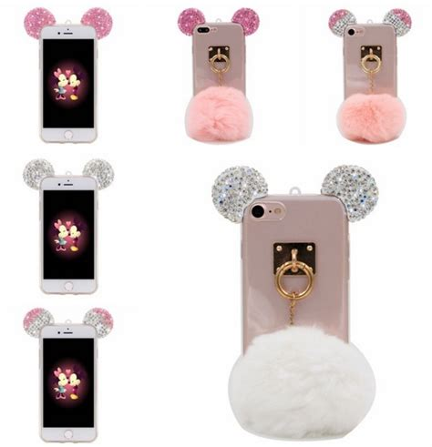 Iphone 7 3d Mickey Glitter Bling Soft Tpu Back Reo iphone 7 7 plus cases 3d rhinestones bling mouse ears