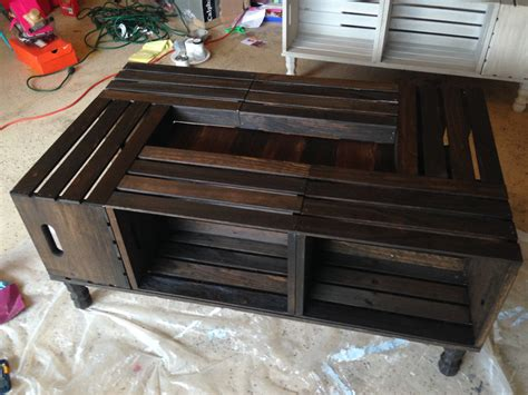 wood stained wine crate coffee table by nottooshabbyhome