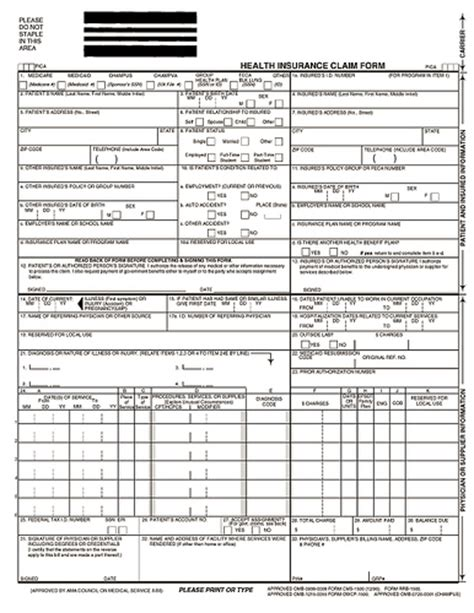 1500 claim form template hcfa 1500 insurance claim form a hcfa 1500 insurance